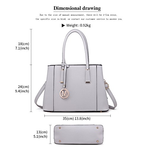 Handbag Top Pu Ladies Lulu for Stylish Light Litchi Tote Skin Miss Grey Leather Quality 1748 Women Design Shoulder I87tw