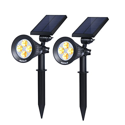 Nekteck Solar Powered Garden Spotlight - Outdoor Spot Light for Walkways, Landscaping, Security, Etc. - Ground or Wall Mount Options (2 Pack, Warm White - 2300K) (Solar Outdoor Spot Lights)