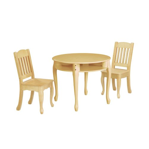Teamson Kids - Windsor Round Table & Set of 2 Chairs - Natural