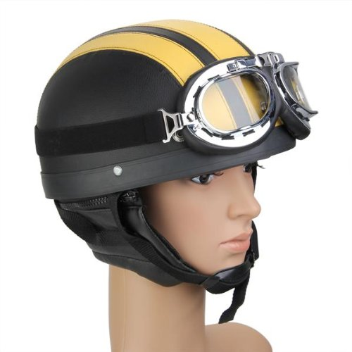Zimo® Motorrad Scooter Kunstleder überzogen Helm Halbhelm Schutzhelm Motorradhelm Sturzhelm Kampfhelm + Schutzbrillen gelb schwarz