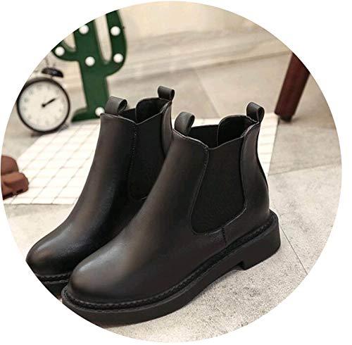 Juvenile shoulder 2018 Slip On Elastic Band Rubber Boots Winter Arrival Ankle Boots Women Shoes Autumn Square Heel Boots,2,6.5