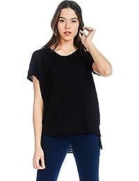 Womens Basic Short Sleeve Cotton Slub Loose Fit T-Shirt Top
