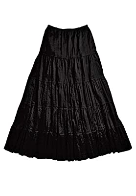 Ellos Women's Plus Size Crinkled Tiered Skirt - Black, 20