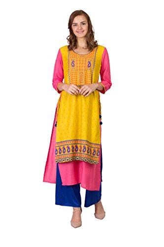 (SABHYATA Women Kurta Designer Ethnic Long Dress Casual Tunic Kurti for Women Ladies Partywear Material 100% Pure Rayon Neck Type Round Neck Small)