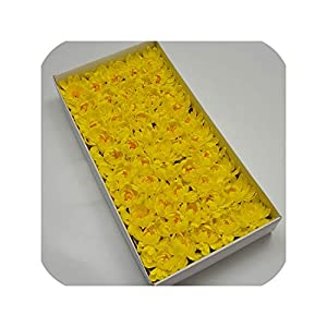 50Pcs/Box Soap Asters Flowers Head Artificial Flowers for Home Wedding Party Decoration DIY Fake Flowers,Yellow 81