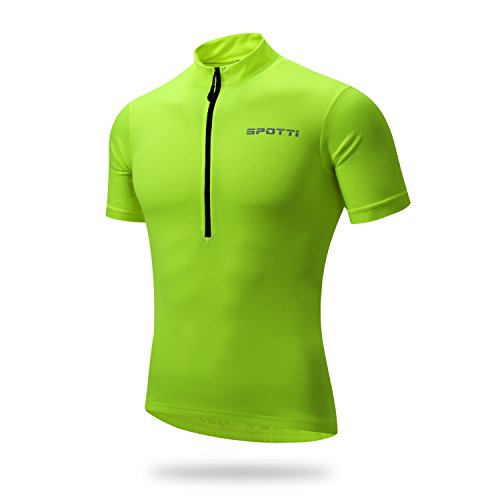 Spotti Basics Men's Short Sleeve Cycling Jersey - Bike Biking Shirt (Yellow, Chest 36-38