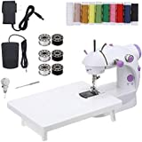 CHARMINER Mini Sewing Machine with Extension Table, Adjustable 2-Speed 2-Thread Sewing Machine, Portable Electric Sewing Machine with Foot Pedal, for Denim Leather etc DIY (White)