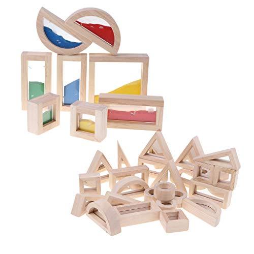 - DYNWAVE Baby Toddler Montessori Buliding Toy - Wood 24pcs Mirror Blocks & 8pcs Rainbow Sand Blocks - Kids Preschooler Hand Eye Coordination Early Development