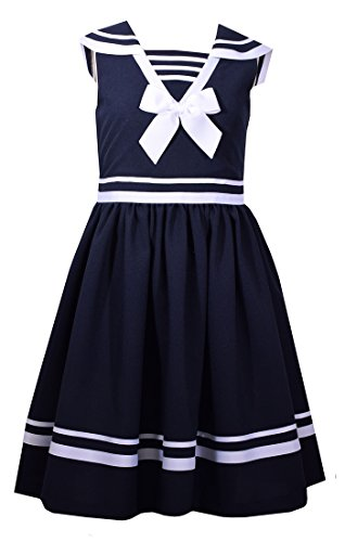 Nautical Sailor Navy White Dress - Bonnie Jean Girls A-Line Nautical Red Dot Dress, 4T, Navy/White