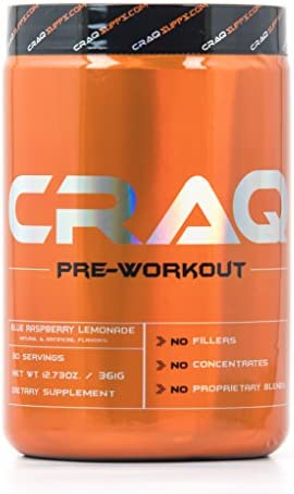 CRAQ Pre Workout – Maximum Energy Nitric Oxide Booster for Intense Muscle Pumps – Clinically Dosed with Addictive Results – 30 Servings Blue Raspberry Lemonade