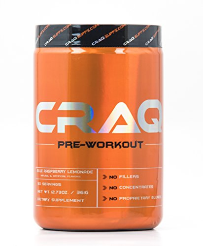 CRAQ Pre Workout - Maximum Energy & Nitric Oxide Booster for Intense Muscle Pumps - Clinically Dosed with Addictive Results - 30 Servings (Strawberry Pineapple)
