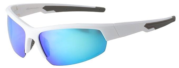 Hornz HZ Séries Ascendancy - Lunettes de soleil Polarized Premium Cadre blanc brillant – Lunette de miroir bleu G6SQW