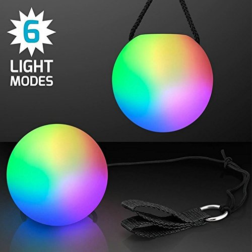 1 Pair RGB LED Glow POI Juggling Thrown Balls Multi Color Light Up Different Settings Swirling Light Lamp Rave Toy - Led Juggling Balls