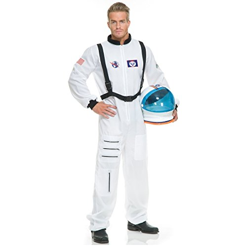Charades Unisex-Adults Astronaut Costume, White, - Helmet Deluxe Adult