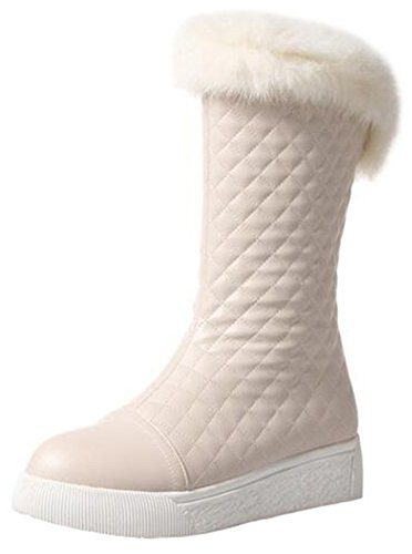 Summerwhisper Women's Trendy Faux Fur Plaid Round Toe Platform Slip-on Fleece Lined Flats Mid Calf Snow Boots Beige 4.5 B(M) US by Summerwhisper