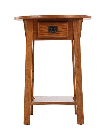 Phoenix Home Tilburg Wood End Table with Drawer and Lower Shelf, Forest Oak (Rustic Phoenix In Furniture)