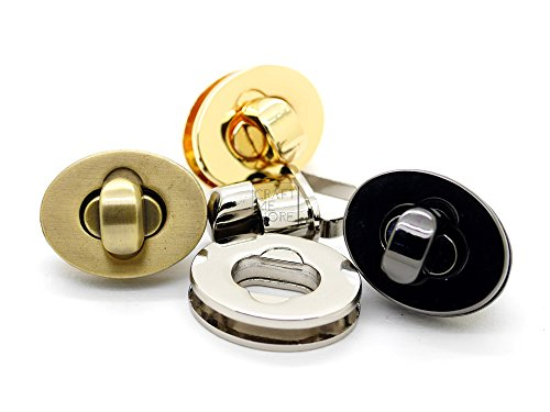 CRAFTMEmore 2PCS Oval Twist Turn Locks Purse Closure Leathercraft Accessory Turn Lock Clasp Available 3 Sizes (Medium 28x22 mm, (Medium Clasp Adapter)