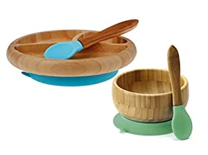 """Maven Gifts:Avanchy Feeding Bamboo Spill Proof Stay Put Suction Bowl - Great Baby Gift Set, Green with Avanchy Feeding Bamboo Spill Proof Stay Put Suction Divided Plate - Great Baby Gift Set, Blue """