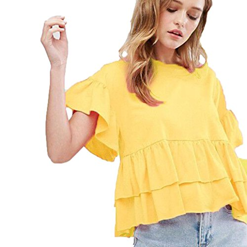 Ladies Party Top,TOOPOOT Women's Ruffle Frill Pleated Shirt Blouse (L, yellow)