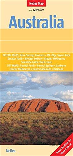 Nelles Map: Australia 1 : 4 500 000 - Special Maps. Alice Springs Environs, Mt. Olga/Ayers Rock, Greater Perth, Greater Sidney, Greater Melbourne Central Melbourne, Central Adelaide, Brisbane