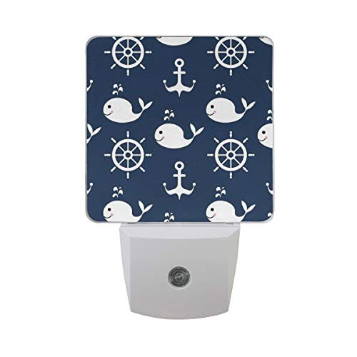 - ALAZA 2 Pack Nautical Whale Fish Wheel Anchor LED Night Light Dusk to Dawn Sensor Plug in Night Home Decor Desk Lamp for Adult
