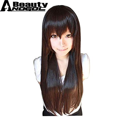 (loyasun Wig Cosplay Party Costume Soft Synthetic Unisex Pocahontas Morticia Addams Vocaloid High Temperature Fiber Synthetic Long Straight Brown with Bangs)