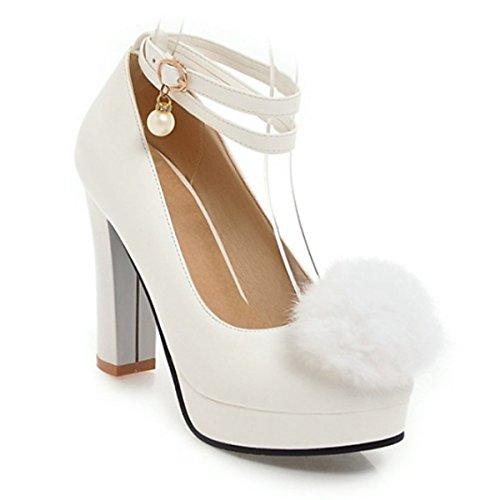 Confort Automne UK3 Blanc Pour EU36 Talons CN35 5 Plume Talon Soirée Chaussures PU 5 amp; Printemps US5 Blanc Nouveauté Chaussures Femmes Rose Boucle DIMAOL Mariage Pour Noir g0q8HXS5