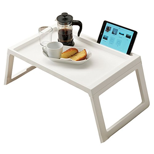ArmaGedon Foldable Breakfast Table Tray in Bed, Portable Laptop Desk Stand Outdoor Camping Table, Reading Tray Holder, Multifunction Lap Desk with Foldable Legs, Long 22 inch White by ArmaGedon
