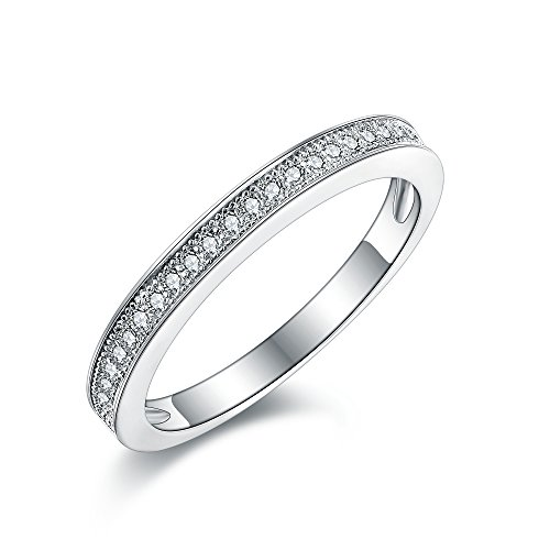 Women's Milgrain-Pave Set STERLING SILVER RING. Vintage Style Half Eternity...