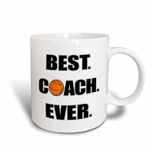 3dRose mug_212088_1 Basketball Best Coach Ever Ceramic Mug, 11 oz, White