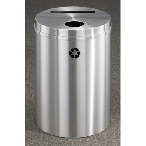 Glaro RecyclePro Satin Aluminum Cover Dual Purpose Recycle Receptacle in All Satin Aluminum Finish