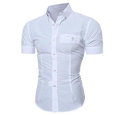 Men's Business Shirts,Hemlock Men Lapel Shirts Button Tops Short Sleeve T Shirt