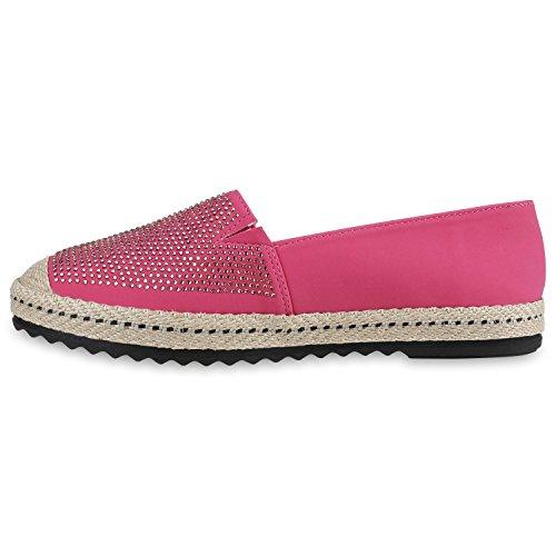 Stiefelparadies Glitzer Damen Slipper Bast Espadrilles Metallic Camouflage Slip-Ons Nieten Schuhe Strass Flats Spitze Häckeloptik Stoffschuhe Übergrößen Flandell Pink