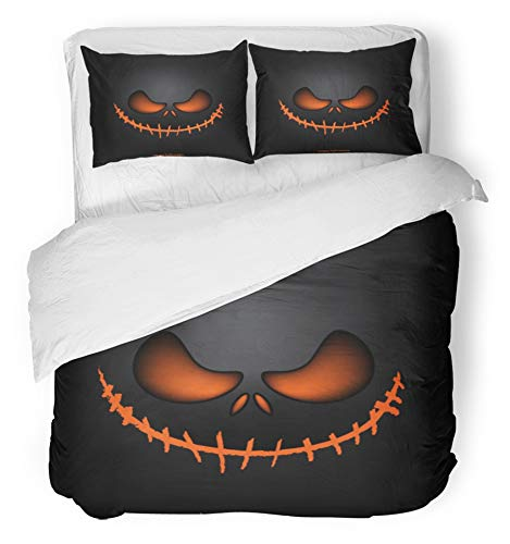 Emvency 3 Piece Duvet Cover Set Breathable Brushed Microfiber Fabric Scary Halloween Mask Horror Ghost Creepy Monster Eye Costume Haunted Bedding with 2 Pillow Covers Full/Queen Size