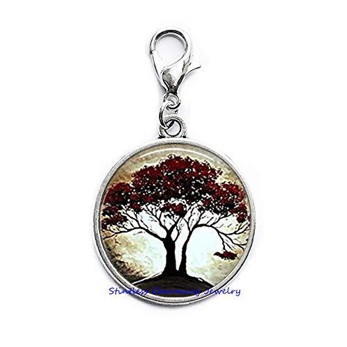 (Moonlight and Oak Tree Lobster Clasp, Resin Lobster Clasp Tree Zipper Pull, Tree Jewelry, Nature Lover Jewelry, Tree Lover Lobster Clasp-JP242)