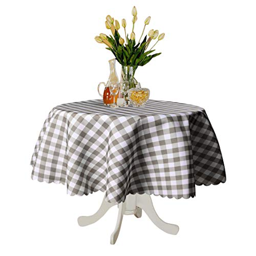 TUBEROSE Table Cloth Round Oil-Proof Spill-Proof and Water Resistance Checkered Tablecloth, Black & White Checker, 60 inch-Perfect for Dinner, Party, Camping Picnic or Everyday Use