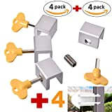 Cupid Pack of 4 Sliding Window Locks Stop and 4 Sliding Door Lock – Sliding Security Door Stop & Child Window Locks to Child Proof Your Home - Aluminum Alloy Door & Windows Safety Lock – 8pcs
