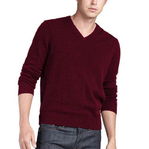 Parisbonbon Men's 100% Cashmere V-Neck Sweater Color Rose...