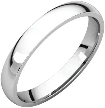 Platinum 3mm Light Comfort Fit Band, Ring Size 4.5