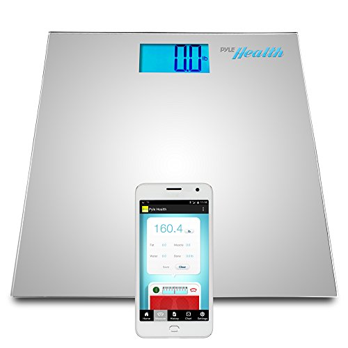 Pyle Smart Bathroom Body Scale with Bluetooth Wireless Smartphone Tracking for iPhone iPad & Android Devices (Silver)