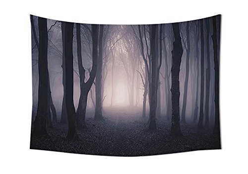 Dark Tapestry Farm House Decor Path Through Dark Deep in Forest with Fog Halloween Creepy Twisted Branches Picture Bedroom Living Room Dorm Wall Tapestries Pink Brown