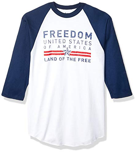 Soffe MJ Men's Patriotic American Baseball Tee, Freedom USA, Medium