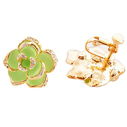 Latigerf Gold Plated Camellia Flower Screw Back Non-Pierced Clip on Earring Clips for non Pierced (Screw Clip Earrings)