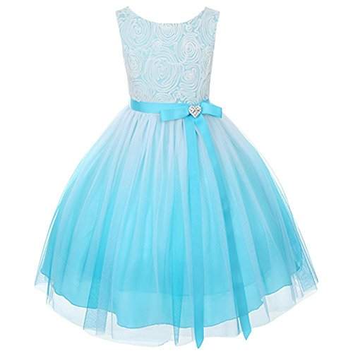 Dress Ombre Bubble (Aqua Ombre Rosette Special Occasion Flower Girls Dress Christmas Wedding 2-14)