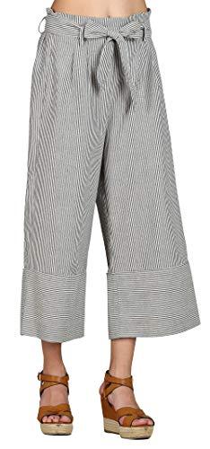 SONJA BETRO Women's Stripe Woven Pleated Sash Waist Wide Leg Crop Pants-White & Black Stripe (101), Small ()