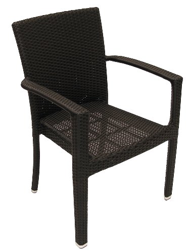 ATC Isabella Stackable Aluminum Frame All-Weather Wicker Arm Chair, Expresso