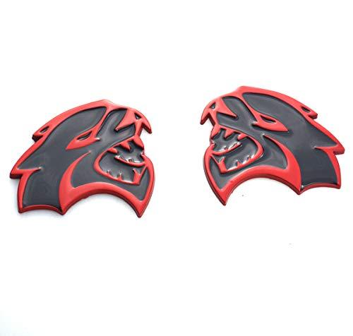 2pcs Hellcat Metal Side Badge Emblems 3d Logo Nameplate Stickers Decals Compatible For Chrysler Dodge Challenger Charger Srt Red Black