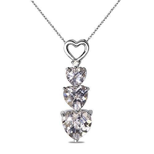 Diamond Accent Created White Sapphire Pendant in 10k White Gold by Nissoni Jewelry