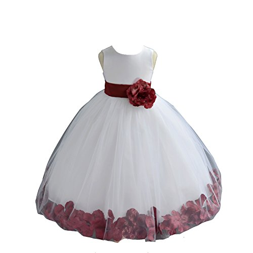 ekidsbridal White Floral Rose Petals Flower Girl Dress Birthday Girl Dress Junior Flower Girl Dresses 302s (Rose Flower Girl Dress)