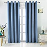 "MEMIAS Grommet Thermal & Noise Insulated, 100% Blackout Extra Thick 250 GSM Window Curtains, Bonus 2 Tie Backs Included, 2 Panels Total Wide 104"" (Each Panel 52″ x 95″ Quite Blue) Review"